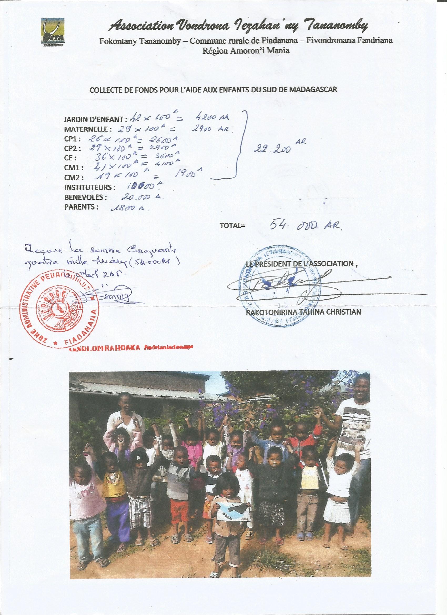 L'école Fanantenana de l'association VITA se mobilise pour les enfants du Sud